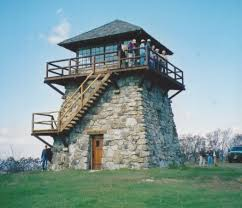 the newly red high knob fire tower in 2003 photo by lynn cameron