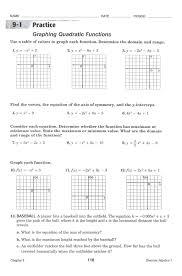 quadratic function worksheets