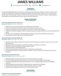 Elementary School Teacher Resume Examples 4 Invest Wight