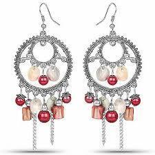 oxidised pink stone fashion chandelier hoop earrings