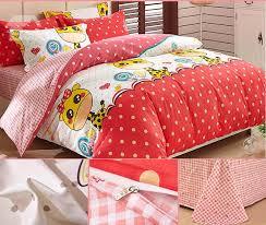 giraffe and polka dot pattern kids 3 piece duvet cover set