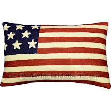 American Flag Pillow Cover Hand Embroidered 13″ x 21″