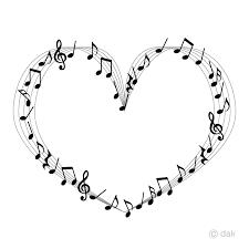 ハート五線譜の楽譜の無料イラスト素材イラストイメージ