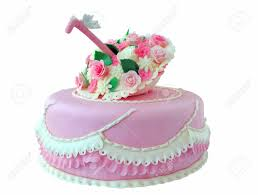 Pink Birthday Wedding Cake With Flowers And Butterfly Isolated