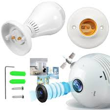 1080p Wifi Camera Camcorder Light Bulb 360 Panoramic 3d Perspective