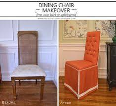 dining chair makeover before and after from cane back to fully upholstered with tufted