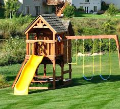 outdoor playhouse swing set