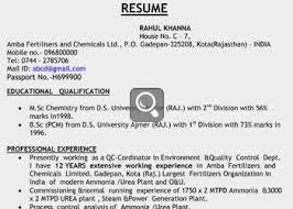 Resume Critique Raw Resume Sample India ...