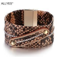 <b>ALLYES</b> Bohemian Snake <b>Leather</b> Bracelet For Women Fashion ...