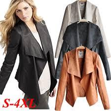 faux leather waterfall jacket plus size best 2017