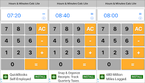 screenshots of the hours minutes calculator iphone calculator app