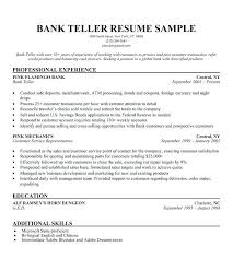 Bank Teller Resume Example Sample Template Job Description Resume