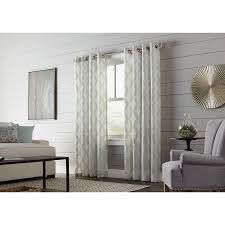 allen roth breesport 95 in mineral polyester grommet semi sheer single curtain panel at gianni