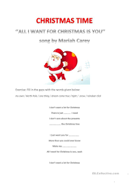 Christmas - lyrics of the song of Mariah Carey - All I want for Christmas  is you - English ESL Worksheets for distance learning and physical  classrooms