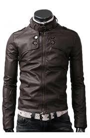on pocket mens slim fit dark brown leather jacket