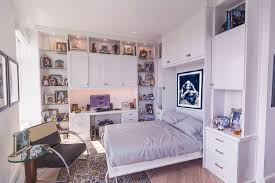 Custom home office design Two Workspace White Home Office Includes Wall Bed Robust Rak Custom Home Offices Office Builtin Design Closet Factory