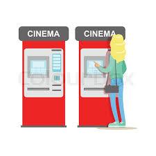 Vending Machine Cartoon Amazing Woman Buying Tickets In Cinema Automatic Vending Machine Part Of