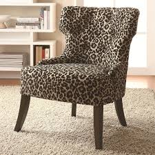 Printed Chairs Living Room Coaster Furniture 902066 Safari Inspired Leopard Print Accent