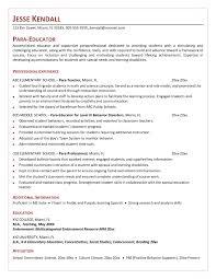 Special Education Paraprofessional Resume Free Sample Teacher