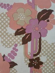 Pink And Brown Flowers Vintage Wallpaper Funkywalls Dé Webshop