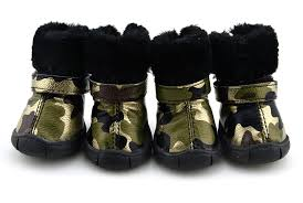 camo pu leather dog shoes winter dog boots gold