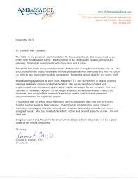 Self Recommendation Letter Stunning Letter Of Recommendation From Ambassador