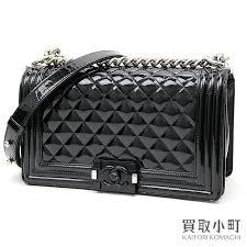 kaitorikomachi chanel boy chanel flap bag patent leather black silver metal fittings medium chain shoulder bag chain bag quilting enamel a67086 rakuten