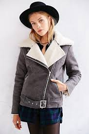 for 0c680 c3b11 lyst glamorous x uo sherpa moto jacket in gray