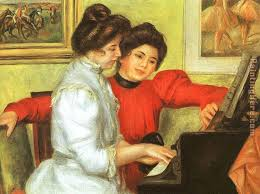 yvonne and christine lerolle playing the piano painting pierre auguste renoir yvonne and christine lerolle