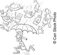 raining cats and dogs clipart.  Dogs Raining Cats And Dogs Cartoon Illustration  Black White And Raining Cats Dogs Clipart D