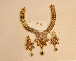 Antique Gold Jewellery Necklace Designs 22kt Antique Cz Gold Necklace Designer Set