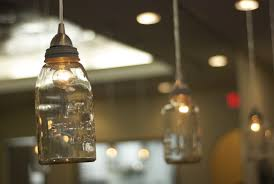 decoration: Attractive Small Lamp In Hanging Mason Jar Desaign Ideas With  Glass Element Under Cute