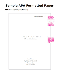 Samples Of Apa Research Papers Free 7 Sample Apa Outline Templates In Pdf