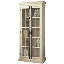 barrow antique white curio with 2 glass doors 4 shelves