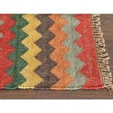 kiwa wa03 handwoven jute jagged chevron rug multi colors wool com