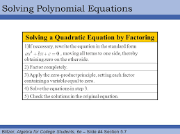 4 solving a quadratic equation by factoring