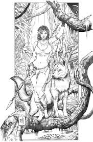 Jungle Girl By Kromespawn Adult Coloring Pages Cartoon