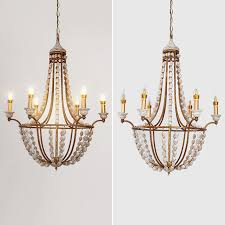classic farmhouse design distressed wood beaded 6 light gold chandelier lamp