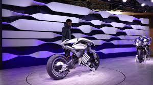 demonstrating yamaha motor motoroid at tokyo motor show raw video