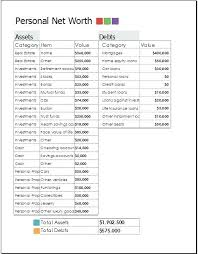 Net Worth Calculator Personal Net Worth Forms Template Free Statement