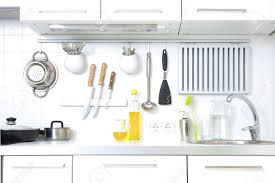 modern kitchen at home with kitchenware stock photo picture and