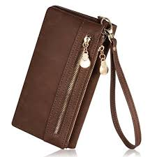 augur women s matte leather wristlet clutch wallet with wrist strap card holder brown it can id card credit card pockets money phone etc s