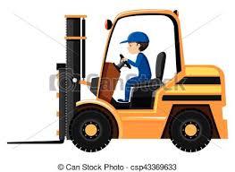 Male Driver Driving Forklift Illustration