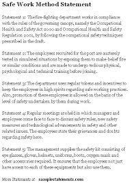 Method Of Statement Sample Safe Work Method Statement Sample Statements 28