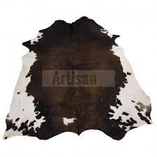 dark brown white belly cowhide rug