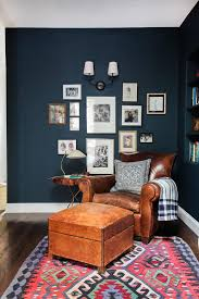 navy room leather chair