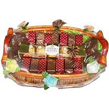 ferrero rocher chocolate dry fruits cookies gift basket frcdfgbs