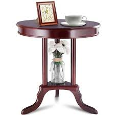 wood round end table side desk storage shelf office home retro furniture solid