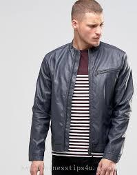 men s jackets coats blend faux leather biker jacket ebony grey 811288