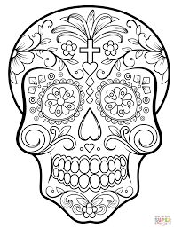 Day Of The Dead Sugar Skull Coloring Page Free Printable Best